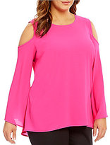 Vince Camuto Plus Bell Sleeve Cold-Shoulder Blouse