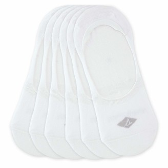 Sperry Women's Solid White Mid Vamp Liner 6-Pair Socks Shoe Size: 5-10
