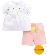 Ladybird Baby Girls Floral Yoke Tee & Short Set