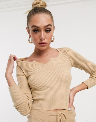 Asos Design DESIGN rib knit two-piece top with notch neck detail-Stone