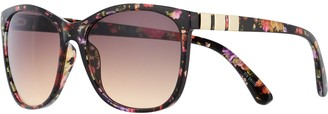 Dana Buchman Women's Floral Wayfarer Sunglasses with Metal Temple Detail