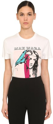 Max Mara Logo Printed Cotton Jersey T-shirt