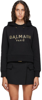 Balmain Black Cropped Logo Hoodie