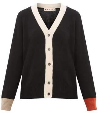 Marni Contrast-cuff Cashmere Cardigan - Womens - Black Multi