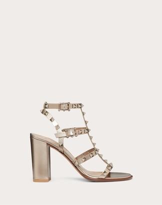 Valentino Rockstud Metallic Calfskin Leather Ankle Strap Sandal 90 Mm Women Skin Calfskin 100% 34