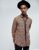 Asos Regular Fit Viscose Shirt With Pussy Bow & Paisley Print In Brown