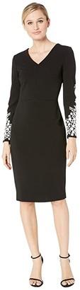 Calvin Klein V-Neck Sheath with Long Sleeve Caviar Beading Detail Sleeve (Black/Cream) Women's Dress