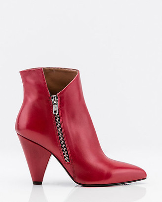 Le Château Italian-Made Leather Cone Heel Ankle Boot