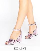 Office Stella Pink Mirror Flare Heeled Sandals