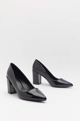 Nasty Gal Womens Patent Block Heel Courts - Black - 4