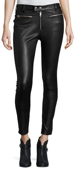 Rag & Bone Ryder Leather Skinny Jeans, Black