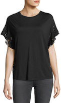 AG Adriano Goldschmied Sofi Crewneck Lace-Back Tee