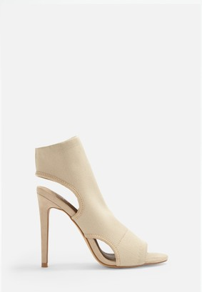 Missguided Nude Knit Open Toe Heeled Sandals