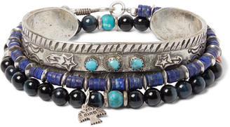 Peyote Bird Set Of Three Sterling Silver, Turquoise, Tiger's Eye And Lapis Heishi Bracelets - Blue