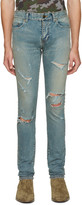 Saint Laurent Blue Original Low Waisted Destroyed Skinny Jeans