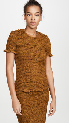 Proenza Schouler White Label Short Sleeve Smocked Top