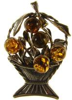 Cozmos Brooches BALTIC AMBER AND STERLING SILVER 925 DESIGNER COGNAC FRUIT BOWL BROOCH PIN JEWELLERY JEWELRY