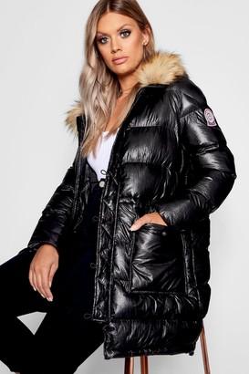 boohoo Plus High Shine Longline Puffer Parka Coat