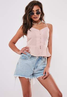 Missguided Nude Button Down Peplum Top