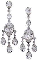 Nina Silver-Tone Swarovski Crystal Teardrop Chandelier Earrings