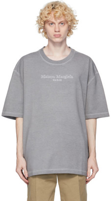 Maison Margiela Grey Embroidered Logo T-Shirt