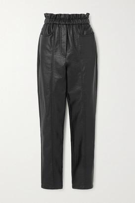 Philosophy di Lorenzo Serafini Faux Textured-leather Tapered Pants - Black