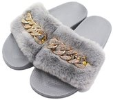 AGOWOO Womens Bling Stylish Fuzzy Open Toe House Slippers 8.5 B(M)