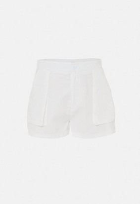 Missguided Plus Size Off White Twill Utility Shorts