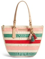 Brahmin Small Willa Croc Embossed Leather Tote - Beige