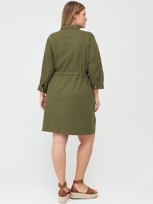 V By Very Curve Linen Blend Utility Dress - Khaki