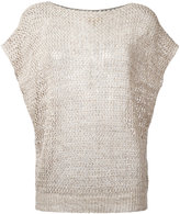 Fay open knit cap sleeve top - women - Cotton/Linen/Flax - S