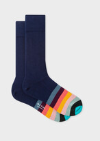 Thumbnail for your product : Paul Smith Men's Navy Socks With 'Artist Stripe' Toe Trim