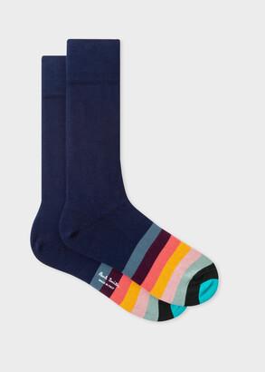 Paul Smith Men's Navy Socks With 'Artist Stripe' Toe Trim