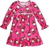 Dollie & Me Fuchsia Santa Ruffle-Hem Nightgown - Toddler & Girls