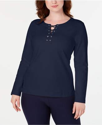 Karen Scott Lace-Up Sweatshirt