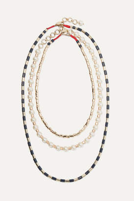 Roxanne Assoulin - Suit Up Set Of Three Gold-tone, Enamel And Faux Pearl Necklaces - one size