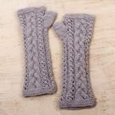 Hand Knit 100% Alpaca Brown Fingerless Gloves from Peru, 'Beach Sand'