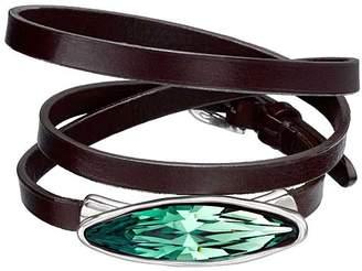 Uno de 50 UNOde50 Women's Bracelets - Green & Silver-Plated Looking Good Leather Wrap Bracelet With Swarovski Crystals