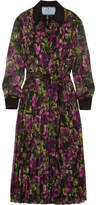 Prada Pleated Floral-print Silk-crepon Midi Dress