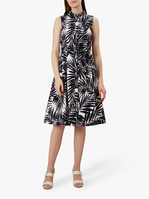 Hobbs Clarence Leaf Print Belt Detail Dress, Navy/White