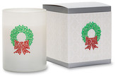 Primal Elements Christmas Wreath White Icon Candle