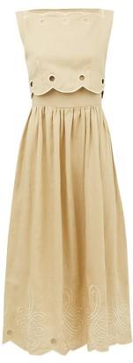 Innika Choo Fonda Laif Embroidered Linen Midi Dress - Beige
