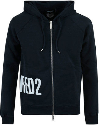 DSQUARED2 Side Logo Print Zipped Hoodie