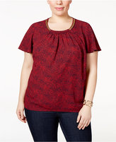 MICHAEL Michael Kors Size Printed Chain-Neck Top