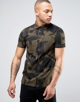 Asos Polo Shirt With All Over Paint Brush Stroke Print