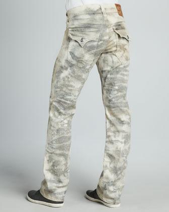 True Religion Ricky Straight-Leg Gray Tie-Dye Jeans