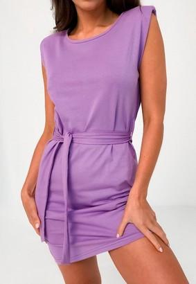 Missguided Lilac Shoulder Pad Tie Belt Mini Dress