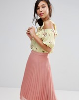 Fashion Union Cold Shoulder Top In Floral