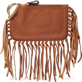 Valentino Fringed Pebbled-leather Clutch