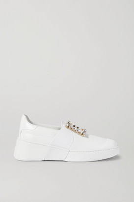Roger Vivier Viv Skate Crystal-embellished Leather Slip-on Sneakers - White